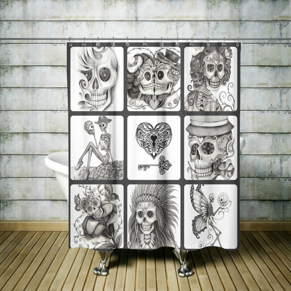 Sugar Skull Shower Curtain Day Of The Dead Charcoal Gray