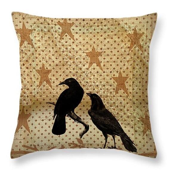 Primitive Throw Pillow Crow Pillows Grunge Rustic