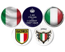 Italian Pride Button, Italia Pinback Buttons, Italian Language Club, Italian Culture, Italy Heritage Badge, Italian Party Favor Pin - BB2342