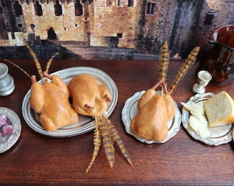 12th scale roast pheasant, Medieval castle miniature food, Tudor dollhouse feast. One inch Georgian Victorian dolls house dining room