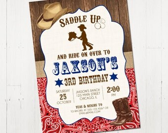 Cowboy Birthday Invitation, Printable Cowboy Birthday Invitation, Cowboy Party Invite, Wild West Invitation, Printable Invitation