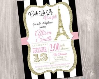 Paris Baby Shower Invitation, Eiffel Tower Baby Shower Invitation, Paris Shower Invitation, Printable Invitation, Chalkboard, French Shower