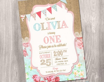 Shabby Chic Birthday Invitation - Girl First Birthday Invitation - Burlap Birthday Invitation - 1st Birthday Invitation - Printable Invite