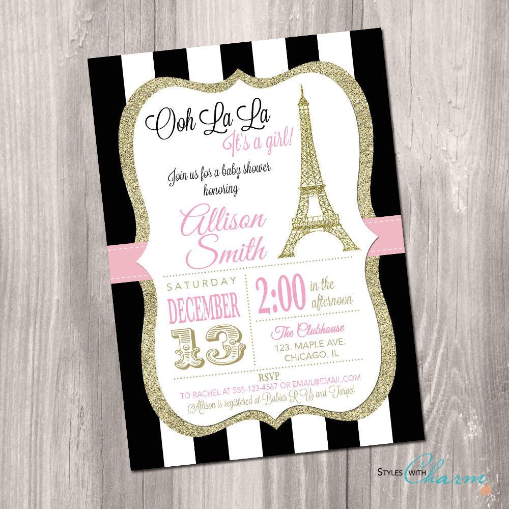 Paris baby shower invitation eiffel tower baby shower - Salon des seniors paris invitation ...