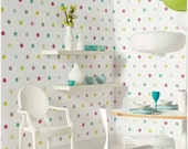 Summer SALE Self adhesive vinyl temporary removable wallpaper, wall decal - Rainbow polka dots - 018