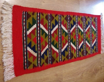 Rare Beige, Red, Green Peruvian Table Runner Table linen Woven Serape Table Folk dresser scarf / Ethnic etno / Tapestry Peruvian Wool / Peru