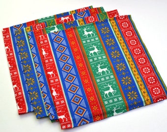 Holiday Napkins Red Green Blue Yellow Cotton Set of 4