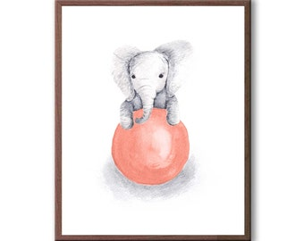 Baby Boy Art, Baby Elephant, Watercolor Painting, Elephant Wall Art, Kids Room Art, Art Print - E342B