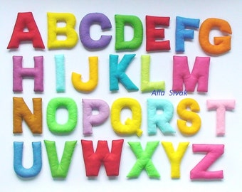 Colorful felt alphabet,Stuffed  Alphabet, Felt letters, Educational game, Preschool, Handmade alphabet, Stuffed letters, felt ABC