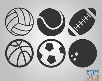 Sports Balls SVG, Volleyball, Baseball, Football, Basketball, Soccer, Bowling