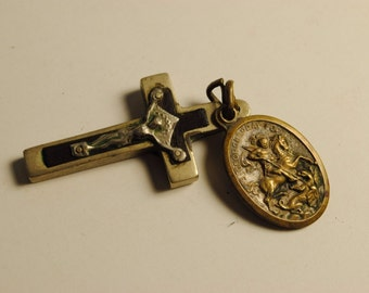 Rare Vintage RELIGIOUS BRASS Medal St. George with Cross