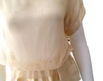 Albert Nipon Silk Cream Blouse (Size 8)