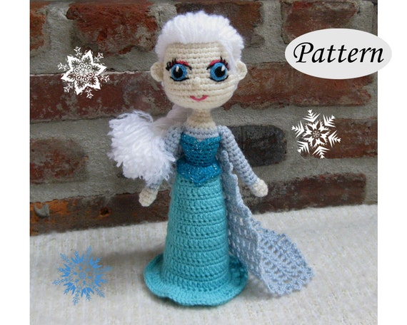 Free Crochet Pattern Elsa Cape : Snow Queen ELSA Amigurumi Pattern Crochet Doll Pattern