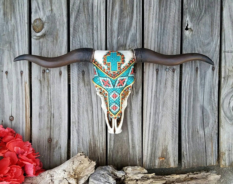 Cow Skull Longhorn Decorated Skull Taxidermy Skull Decor