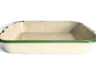 Vintage Enamelware Rectangle Baking Pan - beige, green trim - 1940s-50s - collectible, bakeware, cooking,enamel, primitive, rustic,farmhouse