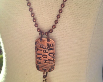 Handmade Copper Hand Stamped Faith Hope Love Necklace