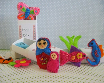In a box ... hand sewn miniature matchbox felties that travel with you!