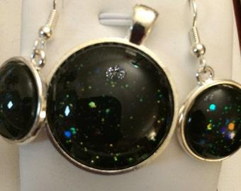 Iridescent Black Pendant and Earring Set