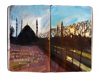 "Fine Art Print - Original Istanbul Cityscape Painting from Artist Travel Journal - ""Dreaming in Istanbul"""