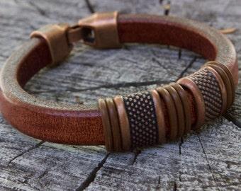 Mens Leather Bracelet, Copper Anniversary Gifts for Men, Bracelet for Dad, Popular Bracelet, Boyfriend Leather Gift, 40th Birthday Gift