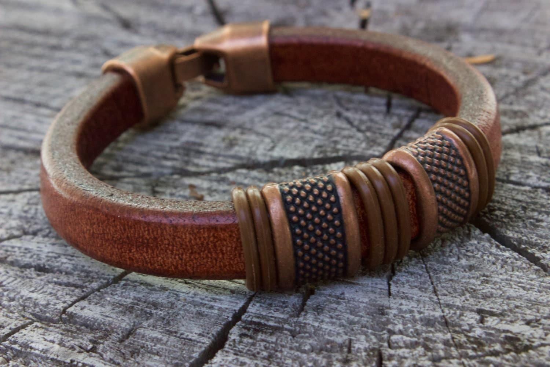 mens leather bracelet copper anniversary gifts for men. Black Bedroom Furniture Sets. Home Design Ideas