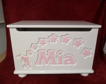 Personalized Toy Box, handmade toy chest, Toybox with Fairy and stars. Design 7