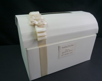 Wedding Post Box and Guest Book, Ivory Satin Ribbon and Various Embellishments