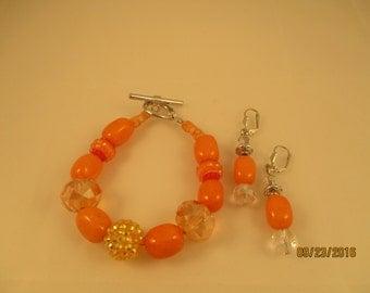 Orange Bracelet and Earring Set