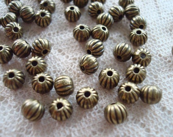 Fluted, Round Antique Bronze Ball Spacers. 4 & 5mm. 72 or 50pc Solid, Heavy, Perfect Corrugated Spacers. 1.5mm Holes   ~USPS Ship Rates/OR