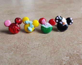 Ariel and Ursula and Flounder and Sebastian Mouse Inspired Polymer Earrings