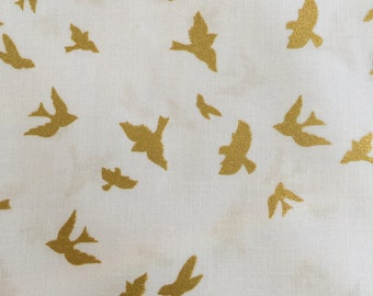 Flight by Violet Craft from the Brambleberry Ridge Collection for Michael Miller Fabrics Gold Metallic Birds