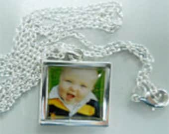 Necklace pendant with photo and your design personalize Jewelry Sterling Silver 16 mm