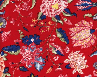Swatch indienne fabric motif 1 on red base - 50x55cm