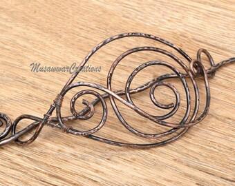 Antique copper hair bun slide ,brass hair bun holder ,Brass /copper Hair Accessory / Hair Bun Holder,