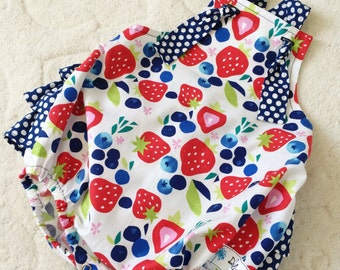 Strawberry Romper , Strawberry Outfit , Strawberry Party , Navy romper , Polka Dot Romper , 4th of July Romper , July 4th Romper , Romper