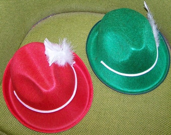 Pure Felt Party Hats - Set of 2 Red and Green with White feather and trim