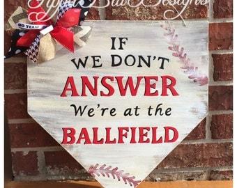 Baseball Door Hanger Home Plate Door Hanger Baseball Sign Baseball Wreath Baseball