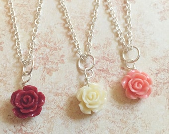Flower Girl Jewelry Bridesmaids Jewelry Rosette Necklace Vintage Rose Necklace Wedding Jewelry Flower Jewelry