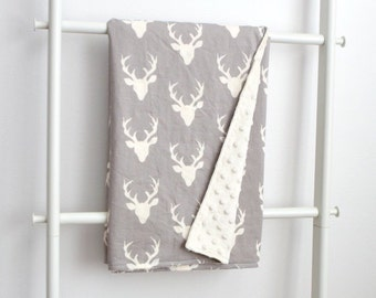 Minky Cuddle Blanket - Taupe / Gray and Cream Deer Antlers with Cream Minky Dot Backing