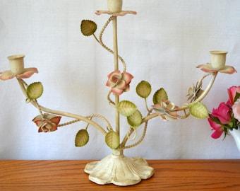 Vintage Painted Metal Floral Caldelabra Centerpiece