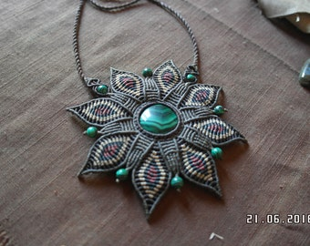 Malachite macrame flower