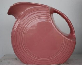 Pink Fiestaware Pitcher, Vintage Fiestaware, Drink Pitcher, Servingware, Tableware, Fiestaware Pottery, Water Pitcher, Iced Tea Pitcher
