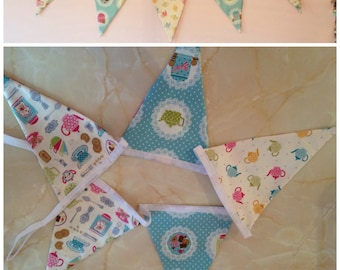 Tea and biscuit fabric bunting 5 flags, tea lovers gift, kitchen bunting