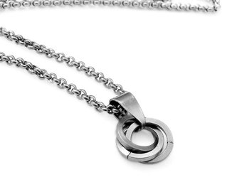 Stainless Steel Mobius Infinity Knot Pendant Necklace with Rolo Chain 55cm / 21""