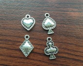 4ses(16pcs) Tiny Poker Charms, Card Charms, Heart Spade Club Diamond Charms, Antique Silver Tone Charms, 2 Sided, 19mm x 12mm - LJ249363