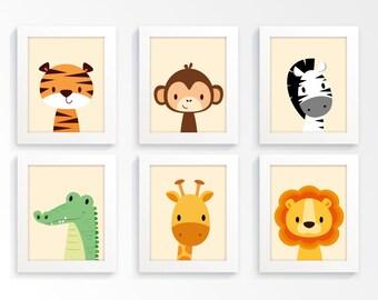 Nursery prints - Safari nursery, animal nursery, zoo animal prints, kids wall art, childrens art, nursery print, children's art, nursery art