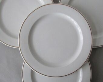 Vintage Royal Doulton Steelite Restaurant Ware Dinner Plates - set / 4 | white and gold china, restaurant ware, dinner plates, english china