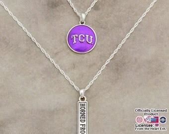 TCU Horned Frogs Double Down Necklace - TCU57816