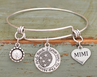 Love You To The Moon Mimi Memory Wire Bracelet - 55788MIMI