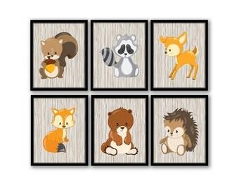 Woodland Nursery Art, Woodland Nursery Decor, Forest Animal Art, Fox Raccoon Squirrel Deer, Forest Friends Nursery, Baby Boy Nursery Art
